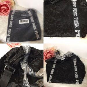 Victorias Secret PINK Black Velvet Duffle Tote Bag